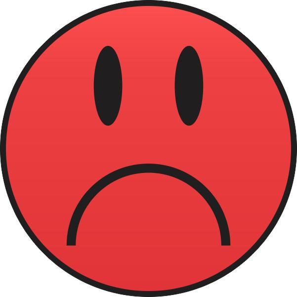 4in x 4in Red Sad Face Sticker