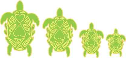Green and Yellow Turtle Family Stickers