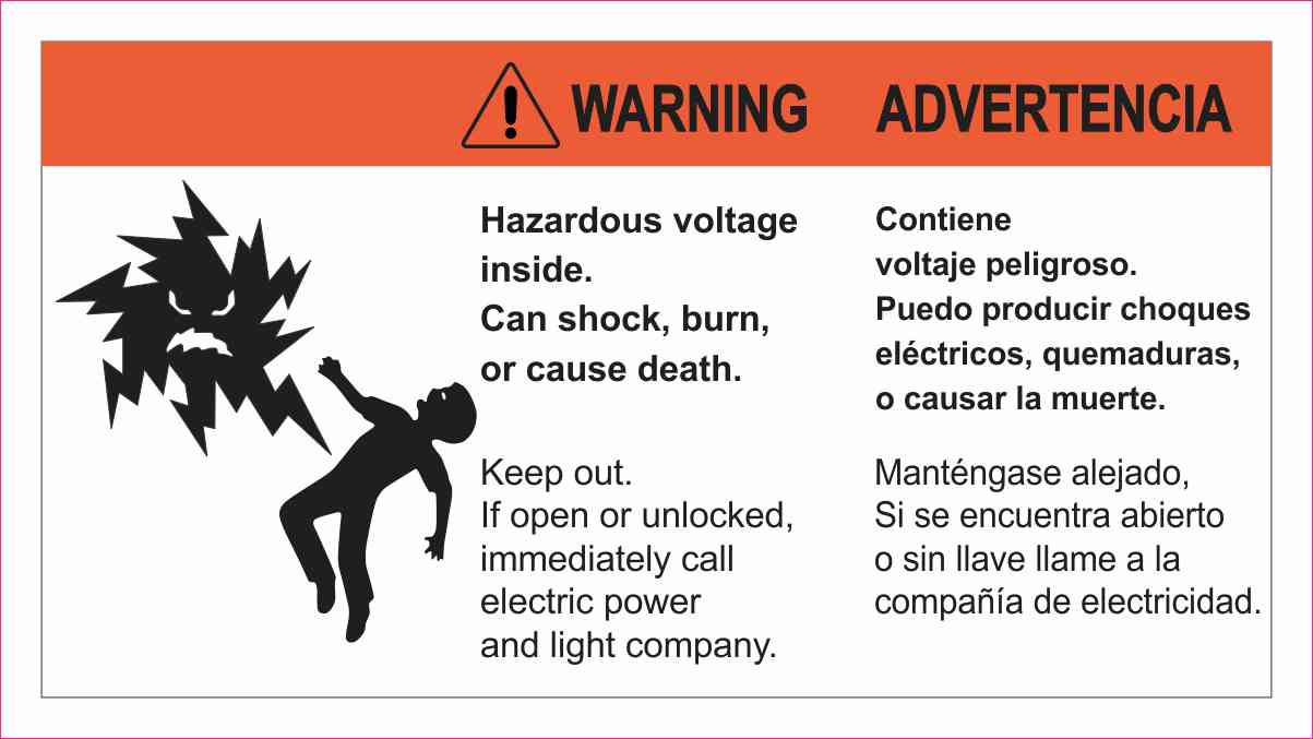 Warning Hazardous Voltage Sticker