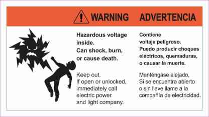Warning Hazardous Voltage Sticker