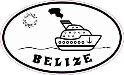 Cruise Ship Oval Belize Sticker