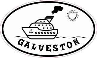 Cruise Ship Oval Galveston Sticker