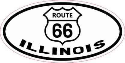 Oval Route 66 Illinois Sticker