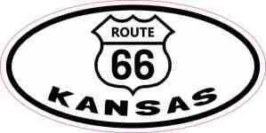 Oval Route 66 Kansas Sticker