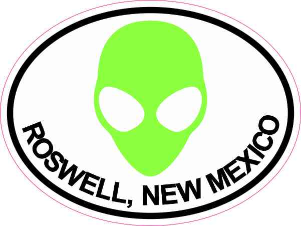 Green Alien Oval Roswell Sticker