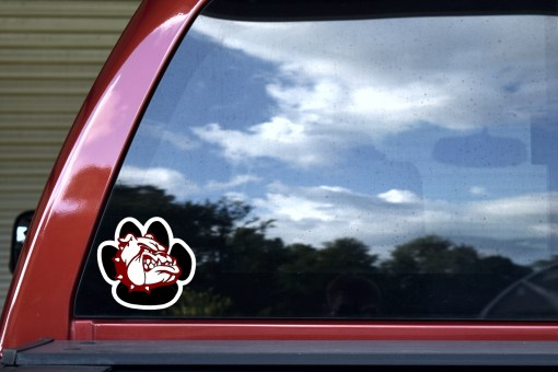 Maroon and White Bulldog Paw Sticker