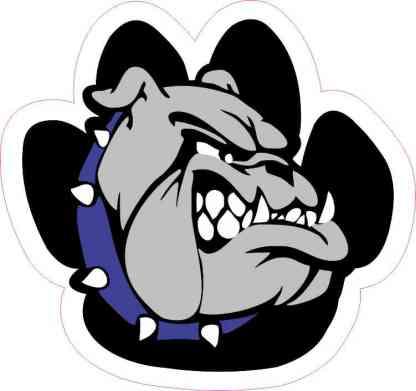 Blue Bulldog Paw Sticker