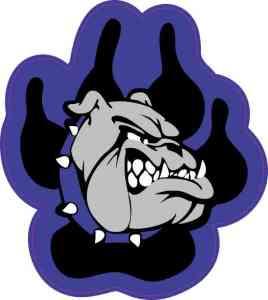 Blue and Black Bulldog Paw Sticker