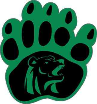 Green and Black Bear Paw Sticker