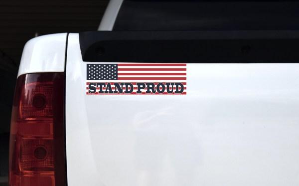 American Flag Stand Proud Bumper Sticker