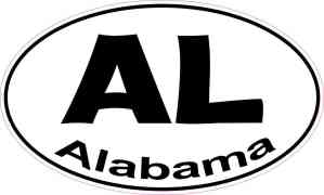 Oval AL Alabama Sticker