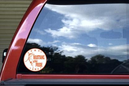 Orange Mustang Pride Sticker