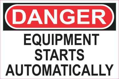Equipment Starts Automatically Sticker