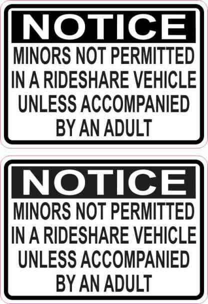 Minors Not Permitted in a Rideshare Vehicle Stickers