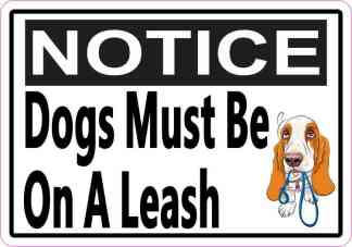 Picture Notice Dogs Must Be On A Leash Sticker