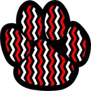 Red Black and White Chevron Paw Print Sticker