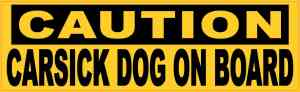 Caution Carsick Dog on Board Sticker