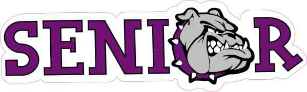 Purple Bulldog Senior Sticker