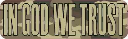 Camouflage in God We Trust Bumper Sticker