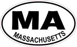 Oval MA Massachusetts Sticker