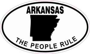 Oval Arkansas the People Rule Sticker