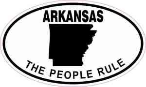Oval Arkansas the People Rule Sticker