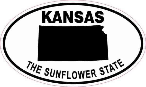 Oval Kansas the Sunflower State Sticker