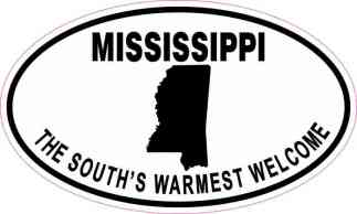 Oval Mississippi the South's Warmest Welcome Sticker