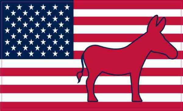Democratic Donkey American Flag Magnet