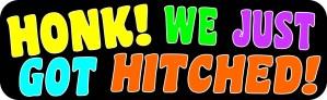 We Just Got Hitched Sticker