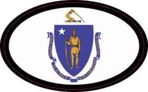 Oval Massachusetts Flag Sticker