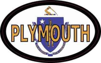 Oval Massachusetts Flag Plymouth Sticker