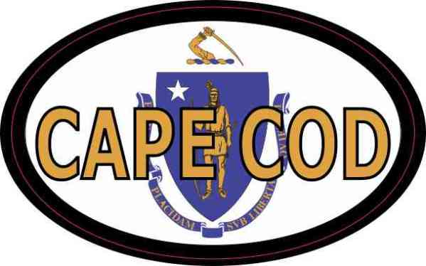 Oval Massachusetts Flag Cape Cod Sticker