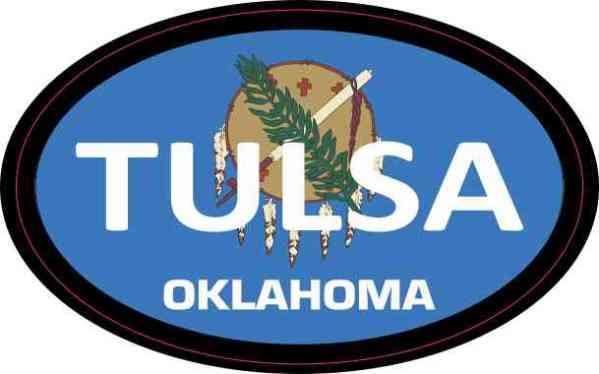 Oval Oklahoma Flag Tulsa Sticker