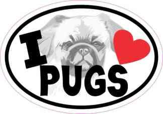 Oval I Love Pugs Sticker
