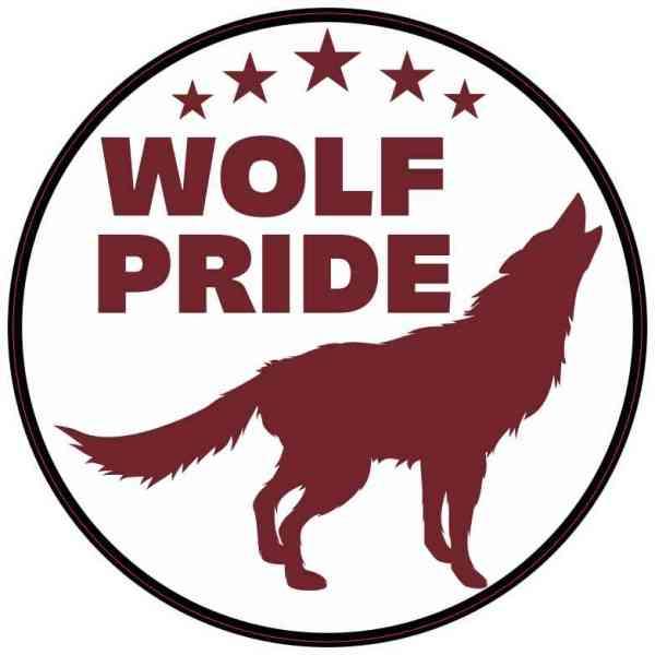 Maroon Wolf Pride Sticker