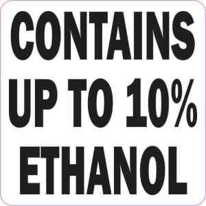 Contains Up To 10% Ethanol Sticker