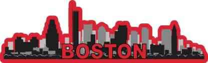Red Boston Skyline Sticker
