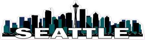 Blue and Green Seattle Skyline Sticker