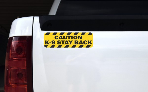 Caution K-9 Stay Back Sticker