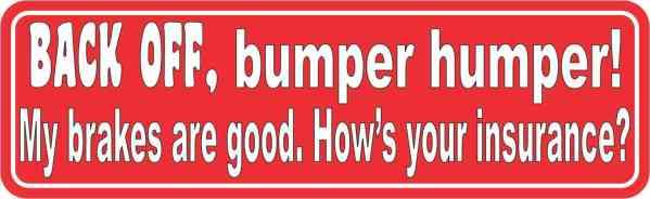 Red Back Off Bumper Humper Sticker