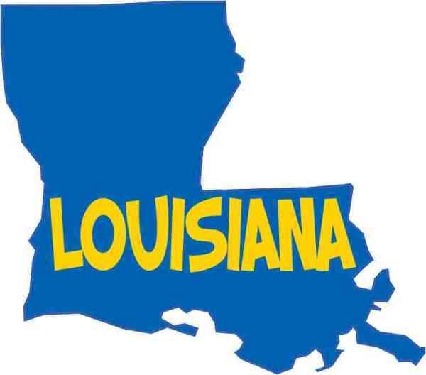 Die Cut Blue and Gold Louisiana Sticker