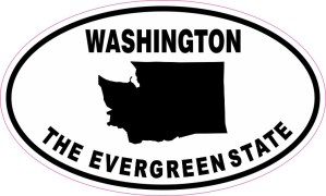 Oval Washington The Evergreen State Sticker