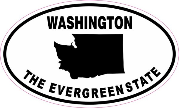 Oval Washington The Evergreen State Sticker