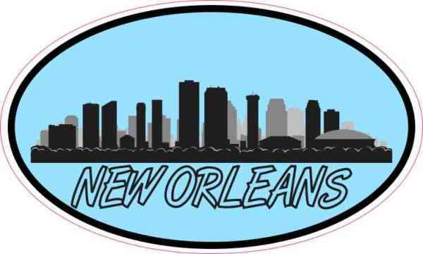 Blue Oval New Orleans Skyline Sticker