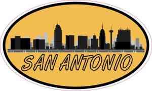 Orange Oval San Antonio Skyline Sticker