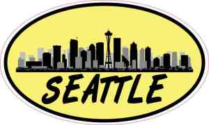 Yellow Oval Seattle Skyline Sticker