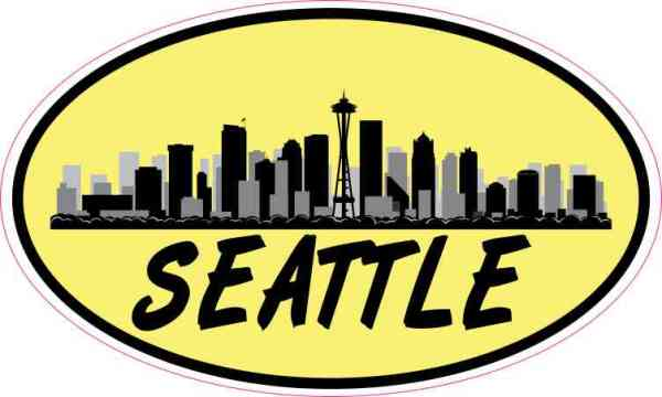 Yellow Oval Seattle Skyline Sticker