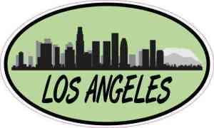 Green Oval Los Angeles Skyline Sticker