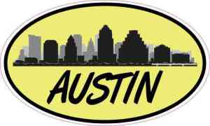 Yellow Oval Austin Skyline Sticker